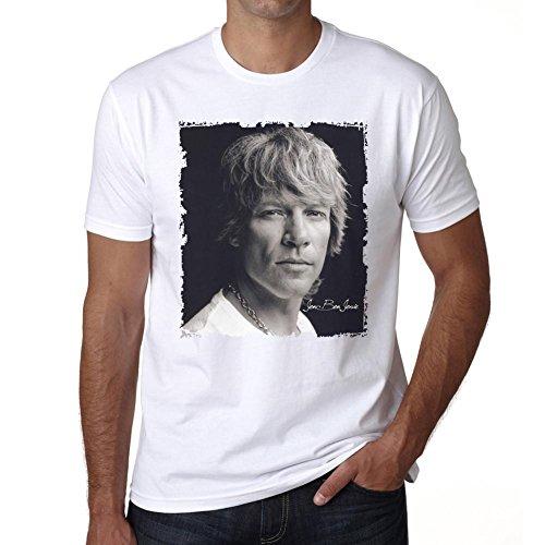 Bon Jovi T-shirts (Jon Bon Jovi Herren T-shirt - Weiß, XXXL, t shirt herren,Geschenk)