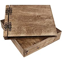 Álbum de fotos de madera de la XL 37 x 29 cm con 50 negro de 300 G hojas de cartón y caja de