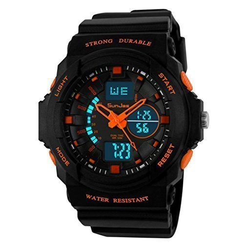 SunJas Digital Armbanduhr LED Sportuhr stoppuhr wecker wasserdicht Quaruhr Alarm in Orange