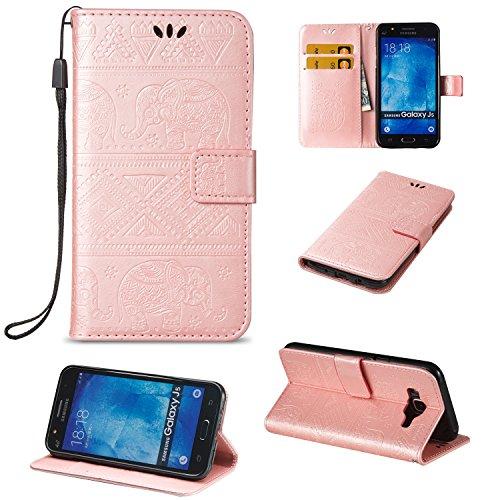 Für Samsung Galaxy J5 Premium Leder Schutzhülle, weiche PU / TPU geprägte Textur Horizontale Flip Stand Case Cover mit Lanyard & Card Cash Holder ( Color : Blue ) Pink