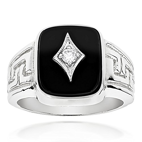 Diamond Ring Herren Black Wedding (Luxurman Mens 14k Natural Black Onyx and 0.1 Ctw Diamond Ring For Him (White Gold Size 9))