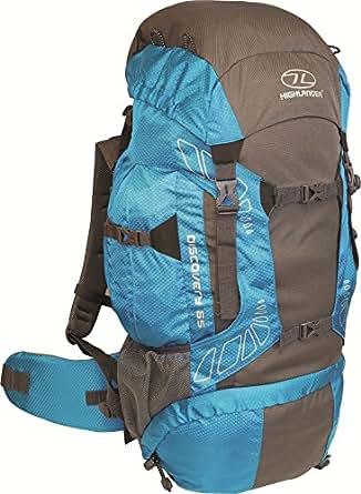 Highland Discover Adventure Travel Rucksack Back Pack Backpack + Cover 45L 65L Blue Teal (65 Litre)