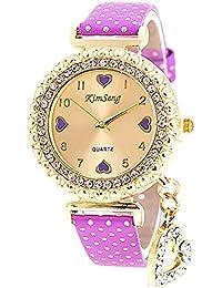 VANKER Cristal Rhinestone de lujo de cuero de imitación Banda Corazón colgante reloj de cuarzo (Color: púrpura)