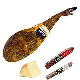 Lote Paletilla Iberica Huelva Etiqueta Oro 4-4,5 kgs con queso y embutidos