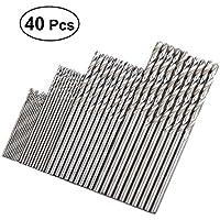 BESTOMZ 40pcs ronda Shank precisión HSS brocas helicoidales taladro de acero de alta velocidad conjunto para madera de metal plástico carpintería