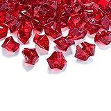 50 Kristall-Steine Weinrot 25 mm - Eis Deko Streudeko Diamanten Tischdeko