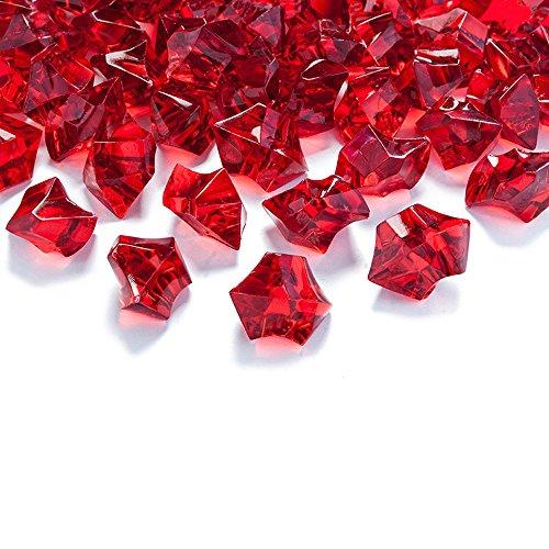 50 Kristall-Steine Weinrot 25 mm – Eis Deko Streudeko Diamanten Tischdeko