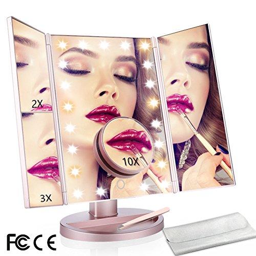 ty Schminkspiegel 21 LED beleuchtet Tri-Fold Spiegel mit Touchscreen und 180 ° verstellbarer Ständer Verbesserte 6 warme Lichter Perlen Reise Kosmetikspiegel (Rose Gold) (Licht-perlen)