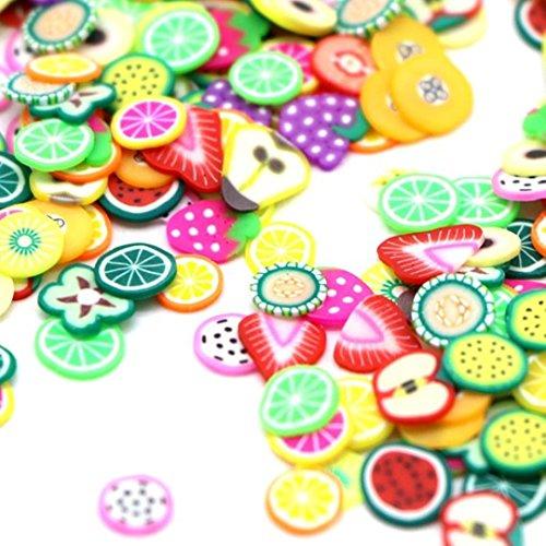 dojore 1000Stück Fruit Polymer Clay 3D Nail Art. Dünne Scheiben von 5mm Durchmesser. zufällige Farben & Design. Fimo Stücke Zitrone, Orange, Erdbeere, Wassermelone