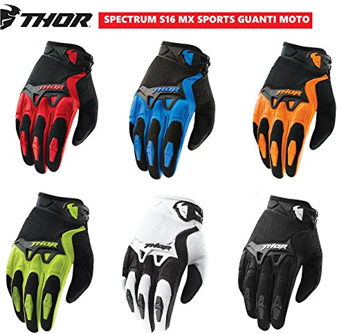 guanti thor Guanti da Motocross Thor Spectrum S15 Adulti Guanti Moto off Road Quad Scooter Enduro MX Sportivo Guanti Fuoristrada Racing - Green - 2XL/46