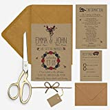Rustikal Kraft Hochzeit Einladungen Paket Kraft Woodland Deer Blumenmuster als illustriert mit kostenloser Versand, Full Package kraft