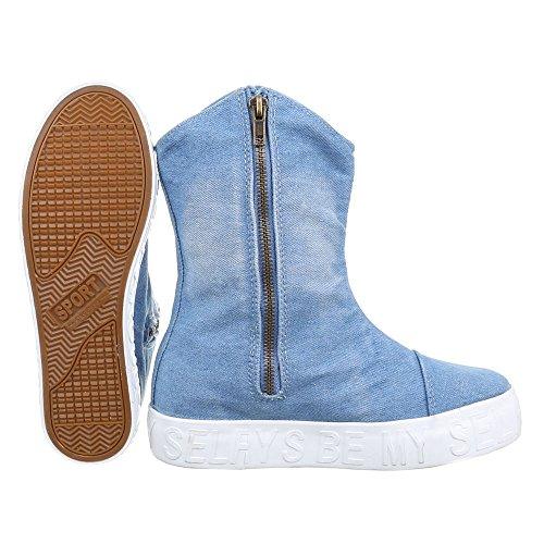 Ital-Design Komfort Stiefeletten Damen Schuhe Schlupfstiefel Used Optik Reißverschluss Stiefeletten Hellblau