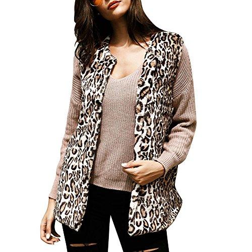 Ibaste gilet faux fur donna leopardato medio e lungo cappotto pelliccia sintetica inverno