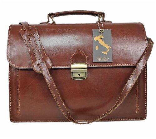 Leatherworld Damen Herren Echt-Leder Tasche Aktentasche Arbeitstasche Notebooktasche Laptoptasche 15 16 Zoll DIN A4 Umhängetasche Dokumenten-tasche Büro aus hochwertigem Leder MARRONE 01301 (Organizer Leder-notebooktasche)