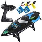 SGILE Ferngesteuertes Boot für Pool & Outdoor, RC Rennboot mit Fernbedienung, 2.4 Ghz High Speed RC Boote Racing Boot für Erwachsene & Kinder, Geschenk Schwarz