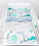 BABYLUX Kinderbettwäsche 2 Tlg. 90 x 120cm Bettwäsche Bettset Babybettwäsche (73. Fische Grün)