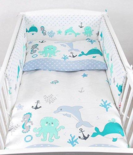 BABYLUX Kinderbettwäsche 2 Tlg. 90 x 120cm Bettwäsche Bettset Babybettwäsche (73. Fische Grün) (Fisch Baby-bettwäsche)