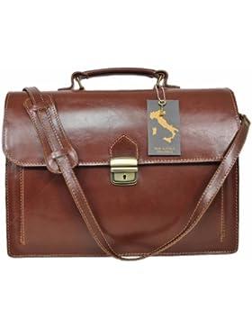 Leatherworld Damen Herren Echt-Leder Tasche Aktentasche Arbeitstasche Notebooktasche Laptoptasche 15 16 Zoll DIN...