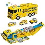 Vanplay Grande Camion Giocattolo Pista Macchinine con Mini Veicoli da Costruzione Regalo di Natale per Bambini 3 4 5 Anni