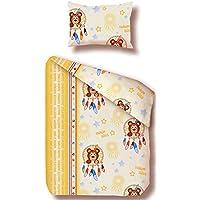 beties Teddybär Kinderbettwäsche ca. 100x135 + 40x60 cm Weiche Biber-Qualität 100% Baumwolle Farbe (Natur-Bunt)