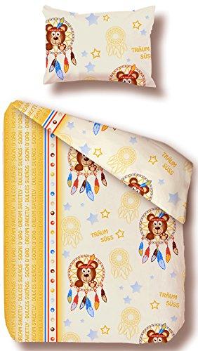 beties Traumfänger Kinderbettwäsche ca. 100x135 + 40x60 cm weiche Biber-Qualität 100% Baumwolle Farbe (Natur-Bunt)