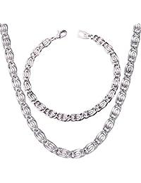 U7 Men's Chain 6Mm Platinum Plated Link Chain Set
