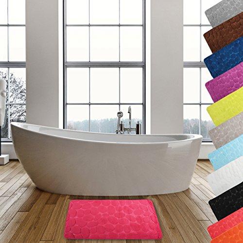 MSV Badteppich Badvorleger Duschvorleger Kieselstein Badematte waschbar, schnelltrocknend, rutschfest 40x60 cm – Pink