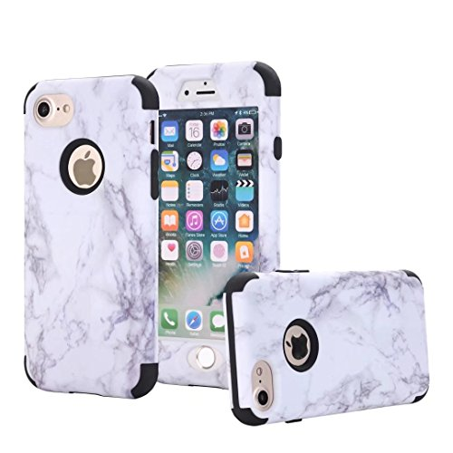 iPhone 6 Plus Hülle, Lantier [Marble Series] Drop Protection Hybrid Slim Heavy Duty Dual Layer Verge Shockproof Hard Silicone Full-Body Protective Armor Defender Case für Apple iPhone 6S Plus Silver Schwarz