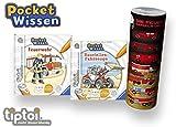 Collectix Ravensburger  tiptoi Buch 4-7 Jahre | Pocket Wissen - Feuerwehr + Baustellen-Fahrzeuge + Feuerwehr Poster | Klein, Pocketwissen Tip TOI Baustelle unterwegs