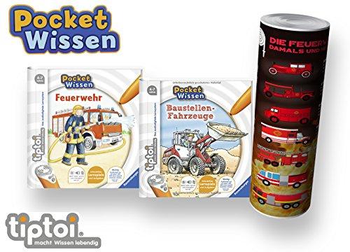 Collectix Ravensburger  tiptoi Buch 4-7 Jahre   Pocket Wissen - Feuerwehr + Baustellen-Fahrzeuge + Feuerwehr Poster   Klein, Pocketwissen Tip TOI Baustelle unterwegs