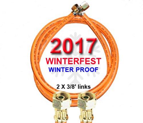 Propan-Gasschlauch WINTERFEST 2 X 3/8' links (für Gewinden-Außenmaßen mit ca. 15-16mm) - Kältebeständig bis - 30° C - mit Aufdruck 2017 (8m (800cm))