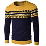 Jaminy Men's Sweater Plus Size Sweatshirt Slim Fit Long Sleeve Casual Warm Knitting Pullover Top Blouse (L, Yellow)