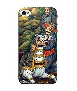 FUSON Designer Back Case Cover for Apple iPhone 5 (Haldighati Maharana Speer Chetak Horse Battle)