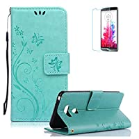 LG G6 Case.Funyye Elegant Premium Folio PU Leather Wallet Magnetic Flip Cover with [Wrist Strap] and [Credit Card Holder Slots] Stand Function Book Type Stylish Butterfly Leaf Vines Designs Full Protection Holster Case Cover Skin Shell for LG G6-Green