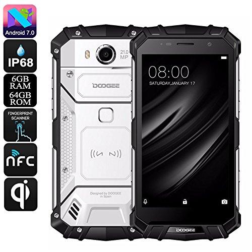 DOOGEE S60 - 5.2 pulgadas FHD Impermeable / A prueba de golpes / A prueba de polvo 4G Smartphone, 5580mAh batería 12V2A Carga rápida (soporte de carga inalámbrica), Helio P25 2.5GHz Octa Core 6 GB 64 GB, 21.0MP Cámara NFC GPS Metal Frame - Plata