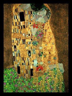Art-Galerie-Shop Bild mit Rahmen - Gustav Klimt - der Kuss - Holz Schwarz, 60 x 80 cm -...