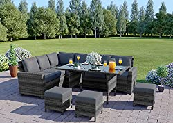 Abreo 9 Seater Rattan Corner Garden Dining Set Furniture INCLUDES PROTECTIVE COVER Black Brown Dark Mixed Grey (Dark Mixed Grey With Dark Cushions)