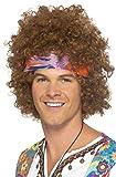 Smiffys Déguisement Homme, Afro hippie, Brun, avec foulard et pendentif Peace & Love, 43235
