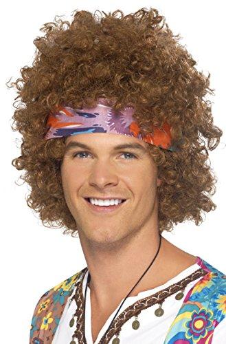 Smiffys Herren Hippie Afro Perücke mit Kopftuch, One Size, Braun, 43235 (Lange Haare Herren Kostüm)