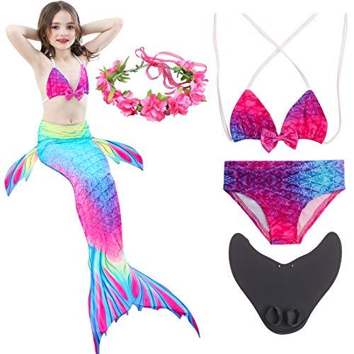 Magogo Meerjungfrau Schwanz Swimmable mit Schwimmflossen Training Flippers verziert Kranz, Mädchen Princess Bikini Set Cosplay Badeanzug Kostüm (M 111-120cm, ()
