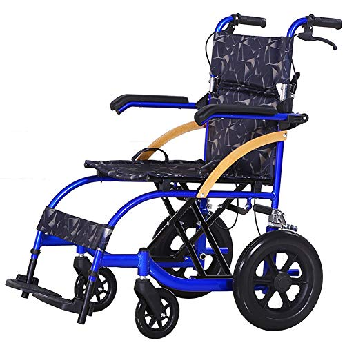 HETAO Medical Orbit Deluxe Folding Leichtgewicht Aluminium Transit Rollstuhl Folding Portable Disabled Trolley Handlauf einstellbar,SmallWheel (22 Portable Rollstühle,)