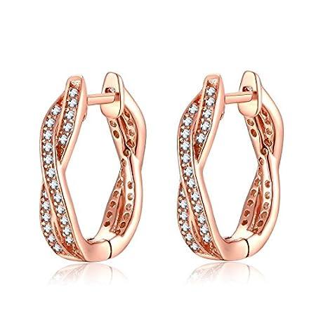Presentski Zirkonia 925 Sterling Silber Rose Gold Hochzeit Ohrringe Creolen Weihnachtsgeschenke für Ewigkeit Frauen…