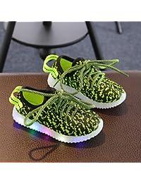 aemember luz LED hasta zapatos comodidad Zapatillas Niños 'zapatos de verano Otoño para Casual con cordones fiesta y noche rubor rosa azul verde gris, US1 / EU32 / UK13 Little Kids, Green