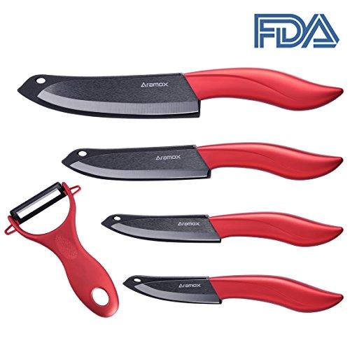 Keramikmesser,Küchenmesser Kochmesser Set 5-teilig Multifunktions Keramik Messer aus 4 Keramikmesser und 1 Keramik-Sparschäler mit Schutzhülle Ergonomischer Griff Rot