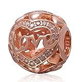 Abalorio de plata de ley 925 con diseño de corazón, de oro rosa, para pulsera Pandora