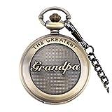 The Greatest Grandpa Bronze Effekt Retro/Vintage Case Herren Quarz-Taschenuhr Halskette–auf 81,3cm Zoll/80cm Kette