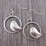 Minimal Bird Earrings in Silver tone