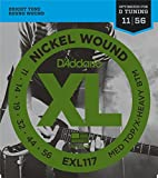 D\'Addario Cordes en nickel pour guitare électrique D\'Addario EXL117, Medium Top/Extra Heavy Bottom, 11-56