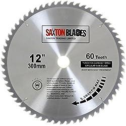 Saxton Lame de scie circulaire TCT 300 mm x 30 mm - 60 dents pour Bosch, Makita, etc.