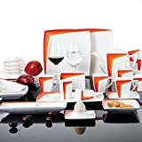 Malacasa, Series Rebeca, Orange 40-Piece China Ceramic Cream White Porcelain Dinner Combi-Set with 6 x Cups 6 x Saucers 4 x Soup Bowls 6 x Dinner Plates 1 x Dish 1 x Rectangular Plate 6 x Egg Stand 1 x Teapot 1 x Sugar Bowl 1 x Napkin Stand 1 x Milk Jug and 2 x Salt Pepper Shaker Set